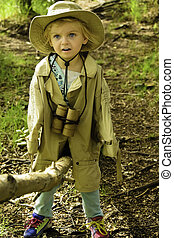 See saw Maddy doll - A young hiker playing in the woods