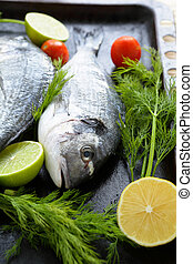 raw sea bream on a baking, food