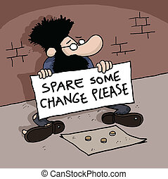Beggar is holding a sign - Cartoon of a Homeless man is...