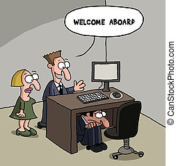 New male office worker cartoon gag - Cartoon gag about a new...