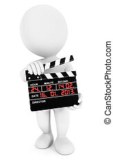 3d white people movie clapper, isolated white background, 3d...
