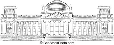 Reichstag building stylized illustr