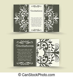 Set of floral invitation cards. - The vector image Set of...