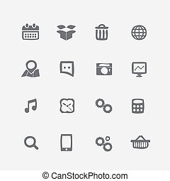 Different application icons set. Crumpled style