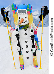 Winter, snow, sun and fun. - Happy snowman and snowy...