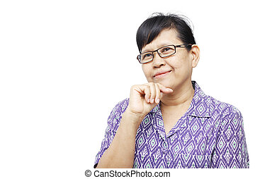 Smilingly - Senior woman smilingly and touching her chin