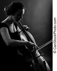 Female playing the cello black and white - Photo of a...
