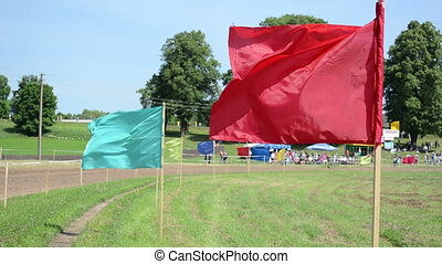 color flag fly people - Various colorful flags fly wave and...
