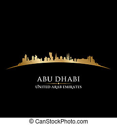 Abu Dhabi UAE city skyline silhouette black background - Abu...