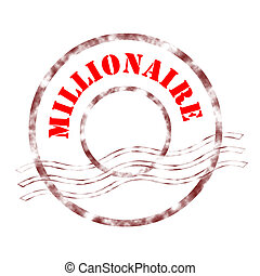 millionaire - Sign millionaire stamp labeled in red color