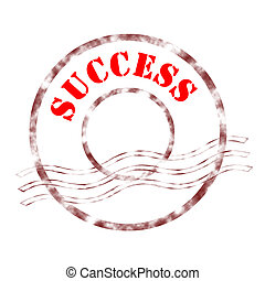success - Sign success stamp labeled in red color.