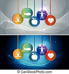 Health care concept illustration. Wellness symbols, Healthy...