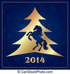Background with horse silhouette and Christmas tree, vector...