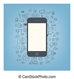 Web development with modern smartphone - Flat design modern...