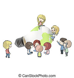 Kids around Eco light bulb with a world inside Vector design...