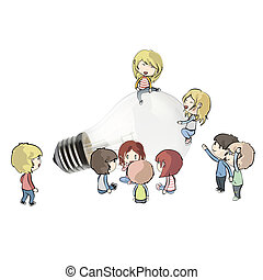 Kids around realistic bulb. Realistic vector design.