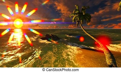 Hawaiian paradise -tropical island at sun set
