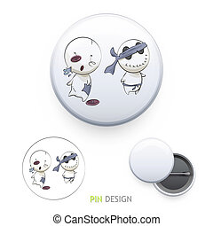 Cute characters printed on pin Vector design