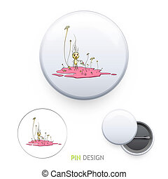 Cute illustration printed on pin. Vector design.