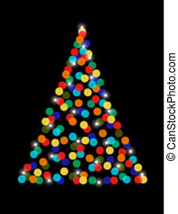 Christmas tree with bokeh lights - Abstract bikeh Christmas...