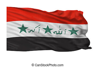 Iraqi Flag. - Flag of Iraqi flying in the air.