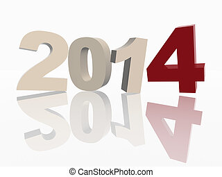 3d new year 2014 in red and grey figures