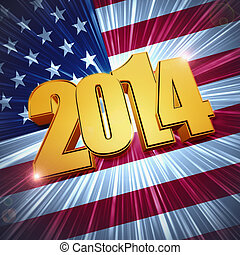 new year 2014 golden figures over shining american flag -...