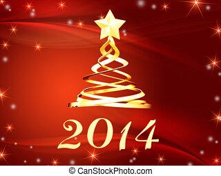 golden new year 2014 and christmas tree with stars - new...
