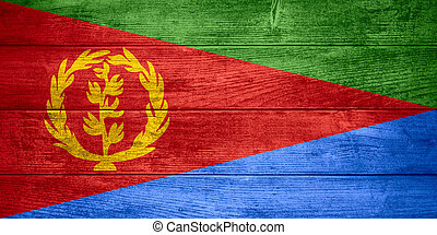 flag of Eritrea or Eritrean banner on wooden background