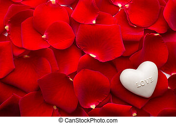 Rose petals - Rose petals and stone hearts