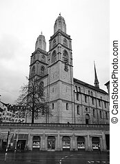 Grossmunster in Zurich - Ancient church Grossmunster in...