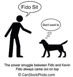 Fido Sit - Kevin commands Fido to sit cartoon isolated on...