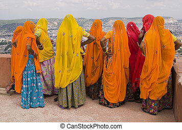 Colors of Rajasthan - Indian women in brightly colored saris...