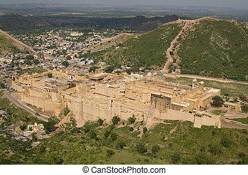 Amber Fort - Amber Fort. Large fortified building. Ancient...