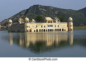 Lake Palace - Water Palace (Jal Mahal) in the middle of Man...