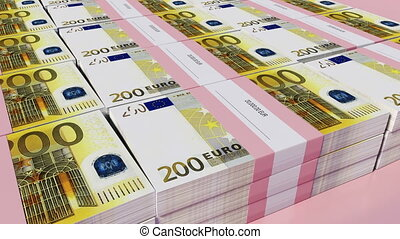 Packets of 200 Euro bills - 3D illustration - Packets of 200...