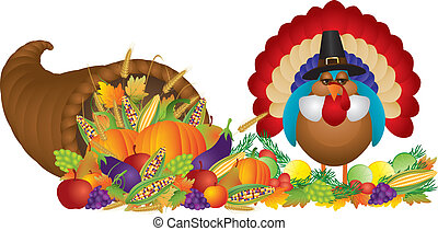 Cornucopia with Bountiful Harvest and Pilgrim Turkey -...