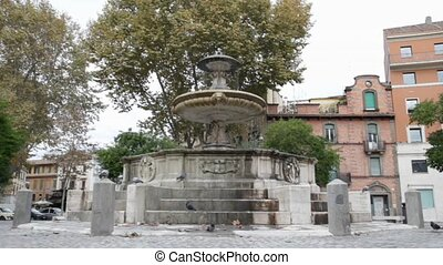 fountain in Rome - Piazza Mastai in Rome, Italy