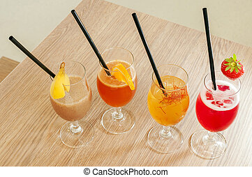 Four non alcoholic cocktails - Four colours and four taste...