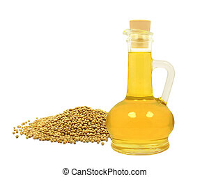 mustard seed oil on a white background