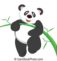 cute panda climbing bamboe