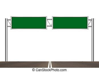 Blank Freeway Sign Post over White