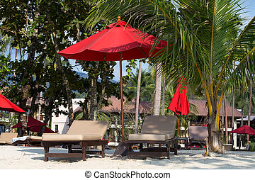 Beach in island Koh Chang ,Thailand - Beach umbrella and...