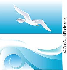 Sea theme - Sea wave and seagull as a backdrop