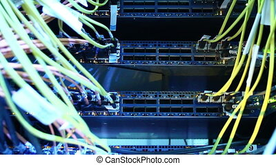 Supercomputer with cables and lamps