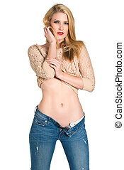 Blonde - Beautiful young blonde in a beige knit sweater and...