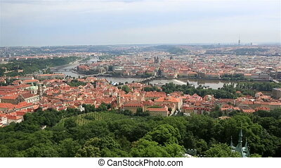 River Vltava in Prague View from the Petrin Lookout Tower