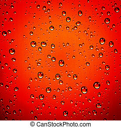 Red water drops - background - Water droplets on red...