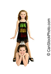 Tap Dance Sisters in Costume - Sisters Pose in Tap Dancing...