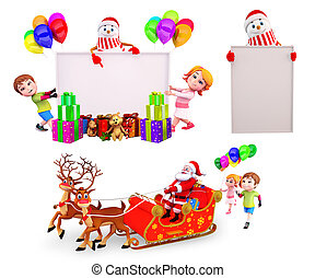 Christmas Design Set - 3d rendered illustration of Christmas...